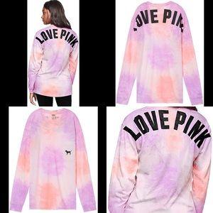VS LOVE PINK Purple Tie Dye L/S Campus Tee Top M